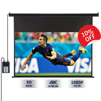 """100"""" Electric Motorized HD Projector Projection Screen TV Home Cinema 16:9 UK"""