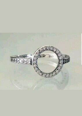 Ladies Art Deco Halo style 925 Sterling Silver & White Sapphire Ring Size P.5