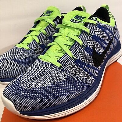 b8200a0759aa Nike FLYKNIT LUNAR ONE + 1 ROYAL BLUE BLACK WHITE VOLT PLATINUM 554887-401  sz