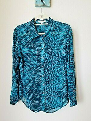 a459c0b6393 Two by Vince Camuto Size Small Teal Black Abstract Button-Up Long Sleeve  Blouse