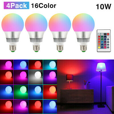 10W E26 RGB LED Light Bulb Multi Color Changing Magic Memory Lamp+Remote Control