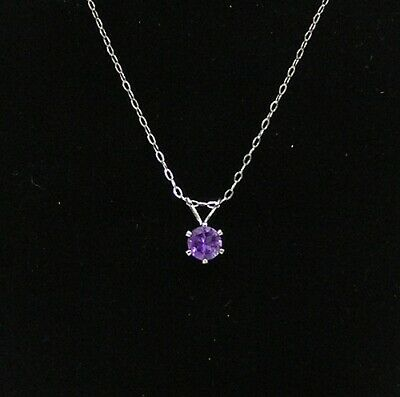 "Amethyst Necklace Set In S/S, 6 mm Faceted Round, .90 Carats, 20"" Chain, Brazil"