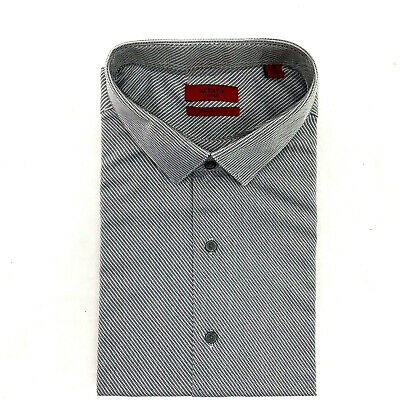 9a5a603d0492 Alfani Men's Fitted Performance Dress Shirt, Gray Striped, Size 18 34-35