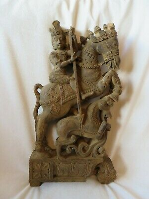 Antique/Vintage Carved Wood Village or Temple Guardian Horse & Rider from India