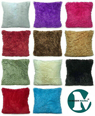 Super Soft Large Cuddly Faux Fur Fluffy Cushions + Covers or Covers 11 Colors