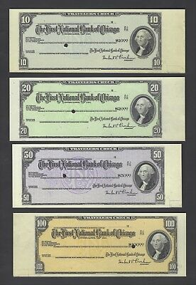 United State-First National City Bank Chicago 10-20-50-100 $ Specimen Cheque