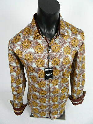 Mens BARABAS Classic Fit Shirt Burgundy / Gold Paisley Floral Print Button Front
