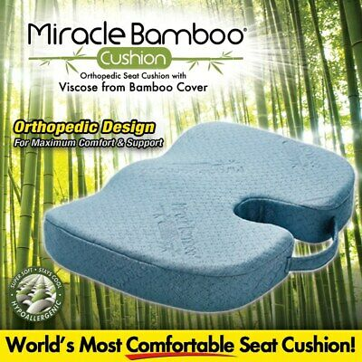 Brand New As Seen on TV Miracle Bamboo Cushion Grey Seat Chair Pillow Orthopedic