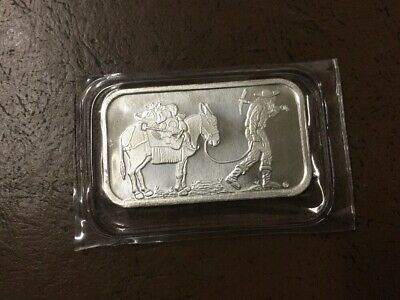 SilverTowne Prospector 1 Troy Oz. .999 Fine Silver Bar Bullion Sealed Retro