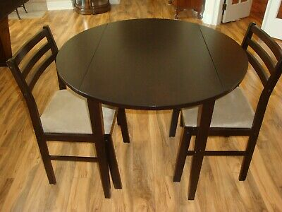Coaster Fine Furniture Drop Leaf Cuccino Wood Dining Table 2 Chairs 130005
