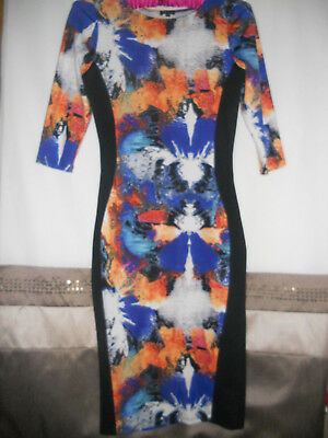 Bright  Multicolour River Island Bodycon Womens Sexy  Party Dress Uk12 /eur40