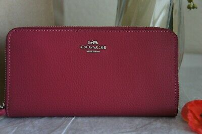 NWT Coach F16612 Pebble Leather Accordion Zip Wallet Hot Pink $250