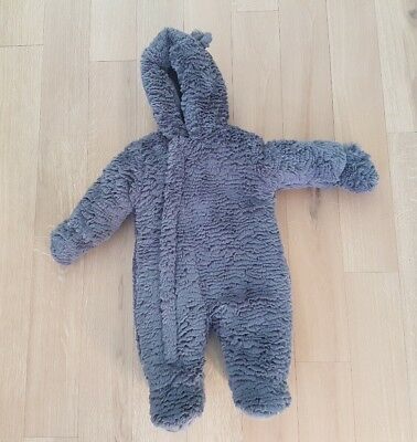 Mothercare grey snowsuit pramsuit warm grey 0 - 3 months Autumn Winter baby #B5
