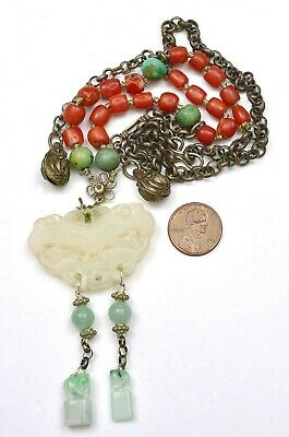 Chinese Sterling Silver Jade Jadeite Seal Plaque Turquoise Coral Bead Necklace