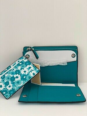 13d198b4a37a MICHAEL KORS MONEY Pieces Tile Blue Floral Wallet ID Credit Card ...