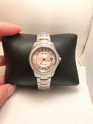 Ladies Citizen Eco-Drive Stainless Steel Pink Dial Date Watch FE1140-86X-H48