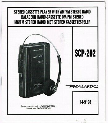 Vintage Realistic Stereo Cassette Player/radio Scp-202 Owner's Manual