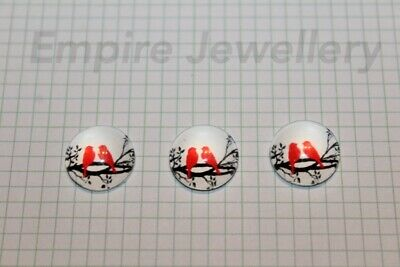 2 x Red Birds on Branch 12x12mm Glass Cabochons Cameo Dome Finch Sparrow
