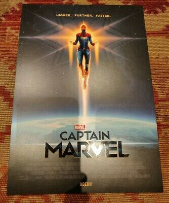CAPTAIN MARVEL Poster A4 Higher Further Faster, Official Odeon Cinema rare card