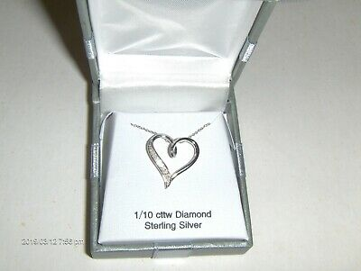 Sterling Silver Necklace with 1/10 cttw Diamond Heart Pendant