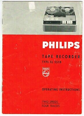 Vintage Philips Tape Recorder El 3548 Operating Instructions