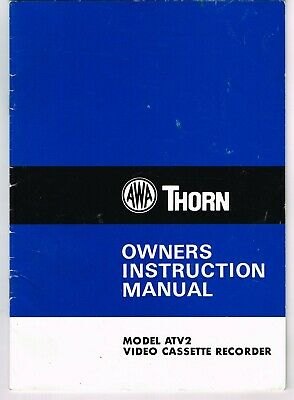 Vintage Awa Thorn Video Cassette Recorder Atv2 Owners Instruction Manual