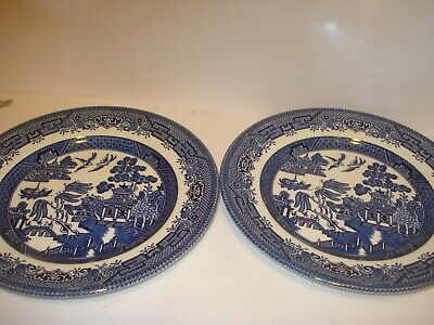 2-CHURCHILL ENGLAND BLUE WILLOW PLATE Vintage 8 Inch Ceramic