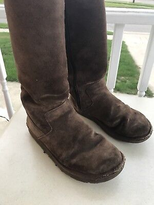 f4eba2cc6f3 UGG AUSTRALIA 5235 Sunset Wos Boots Tall US 7 Blue Suede Fur Lined ...