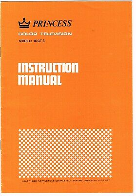 VINTAGE PRINCESS COLOUR TELEVISION INSTRUCTION MANUAL model 14 CT 3
