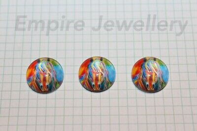2 x Stunning Colourful Horse 12x12mm Glass Cabochons Cameo Dome Pony Brumby