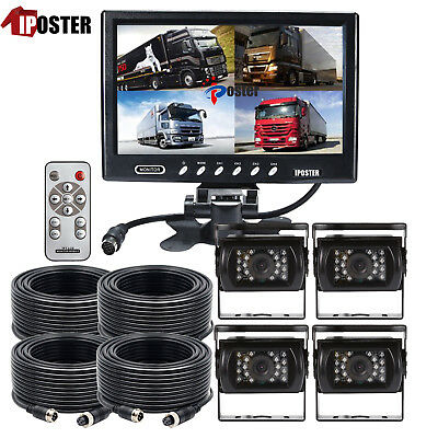 "9"" Quad Monitor Backup Cameras Safety System For Truck Trailer RV 4 CCD Cameras"