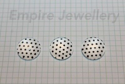 2 x White with Black Polka Dots 12x12mm Glass Cabochons Cameo Dome Spots Retro