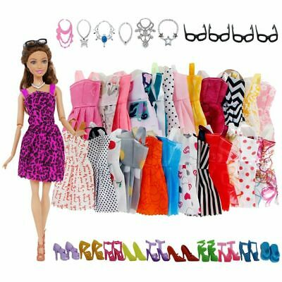 30pcs Doll Accessories Fashion Cute Dress Glasses Necklace Shoes For Girls Doll