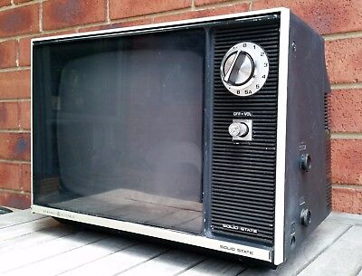 VINTAGE RETRO GE BLACK AND WHITE TELEVISION 1970s B&W TV WORKING ORDER WITH PLUG