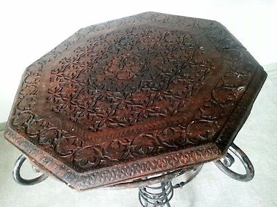 Vintage Retro Hand Carved Hardwood Table Top Lazy Susan Wood Stand Centrepiece