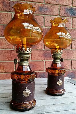 Antique Vintage Retro Pair Of Amber Glass Oil Lamp Light Chimney Shade Wick