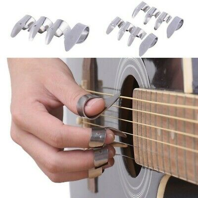 4PCS Metal Ukulele Banjo Guitar Finger Picks with Thumb Pick Plectrums Tool Set