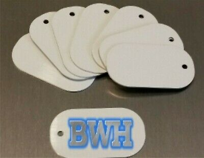 50 PIECE LOT  *MADE IN USA* White Aluminum Dye Sublimation Dog Tag Blanks