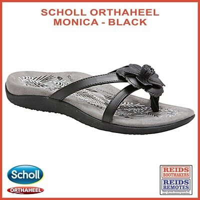 Scholl Orthaheel Monica black strap orthotic thongs with floral motif on toe
