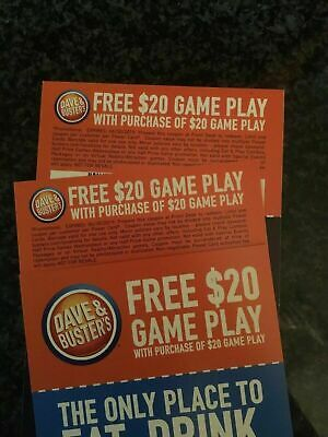 25 Dave and Busters D&B $20 gameplay with same purchase powercard EXP 06/30/2019