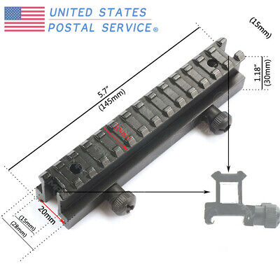 """Tactical See-Thru Flat Top 1"""" Riser Picatinny Rail Scope Mount For Airsoft New"""