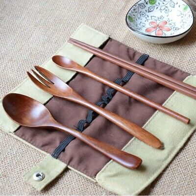 AU stock Portable Wooden Spoon Fork Chopsticks Tableware Flatware Utensil W #B11