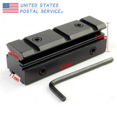 Dovetail Adapter 11mm To 20mm Weaver Rising Rail Scope Mount Fit Airsoft Hunting
