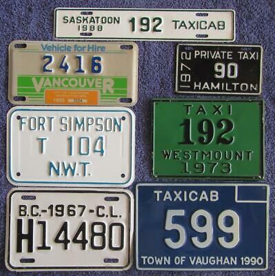 7 x CANADIAN TAXIS LICENSE/NUMBER PLATES