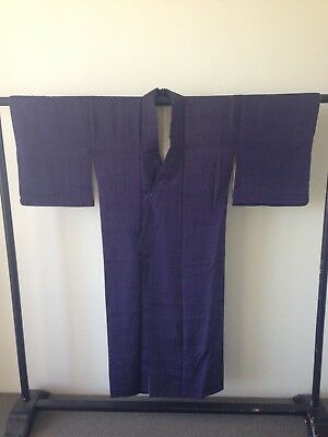 Vintage Japanese Women's Purple Cotton Kimono Hand Made One of a Kind Costume