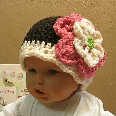 Crochet Baby Hat, 4 Colour Baby Flower Beanie 0 to 5 Yr
