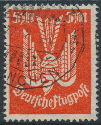 GERMANY - 1923 5Mk orange-red Wood Pigeon airmail, geprüft, used – Michel # 263