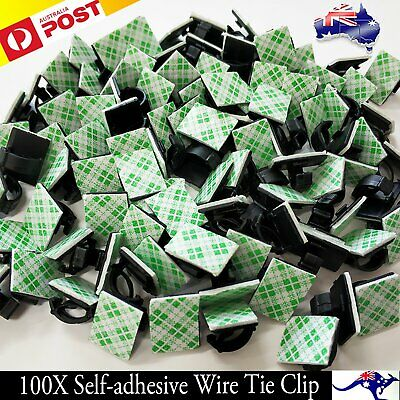 100X Cable Clips Holder Tidy Adhesive Home Car Wire Tie Fixer Drop Clamp Cord AU