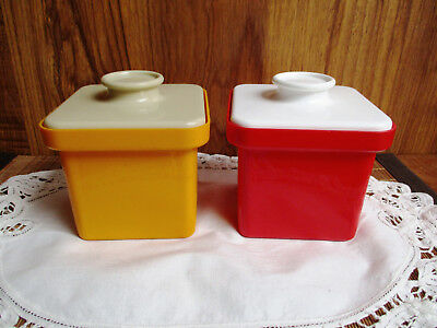 2 X VINTAGE RETRO DÉCOR BUTTER MARGARINE SQUARE CUBE LIDDED TUBS by DECOR