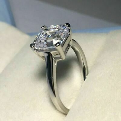 Certified 3.14ct White Asscher Diamond Engagement Ring in Real 14K white Gold